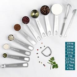 Zestaw łyżek z miarką wytrzymałe narzędzia pomiarowe ze stali nierdzewnej do gotowania w kuchni i pieczenie w domu|Miarki łyżkowe|Dom i ogród -
