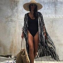 Cache maillot de bain pour femmes, 100% coton, noir, rétro, rayé, ceinture, Kimono, robe de plage, vêtements d'été, Q1225, 2021