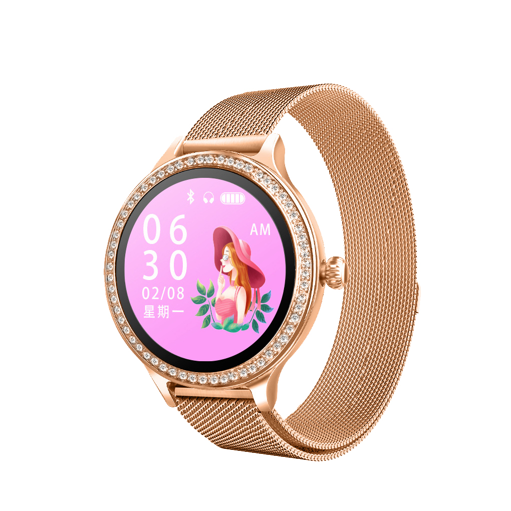 <font><b>M8</b></font> <font><b>Smart</b></font> <font><b>Watch</b></font> Fashion Ladies High-end Metal Texture Heart Rate Blood Pressure Health Monitoring Physiological Cycle image