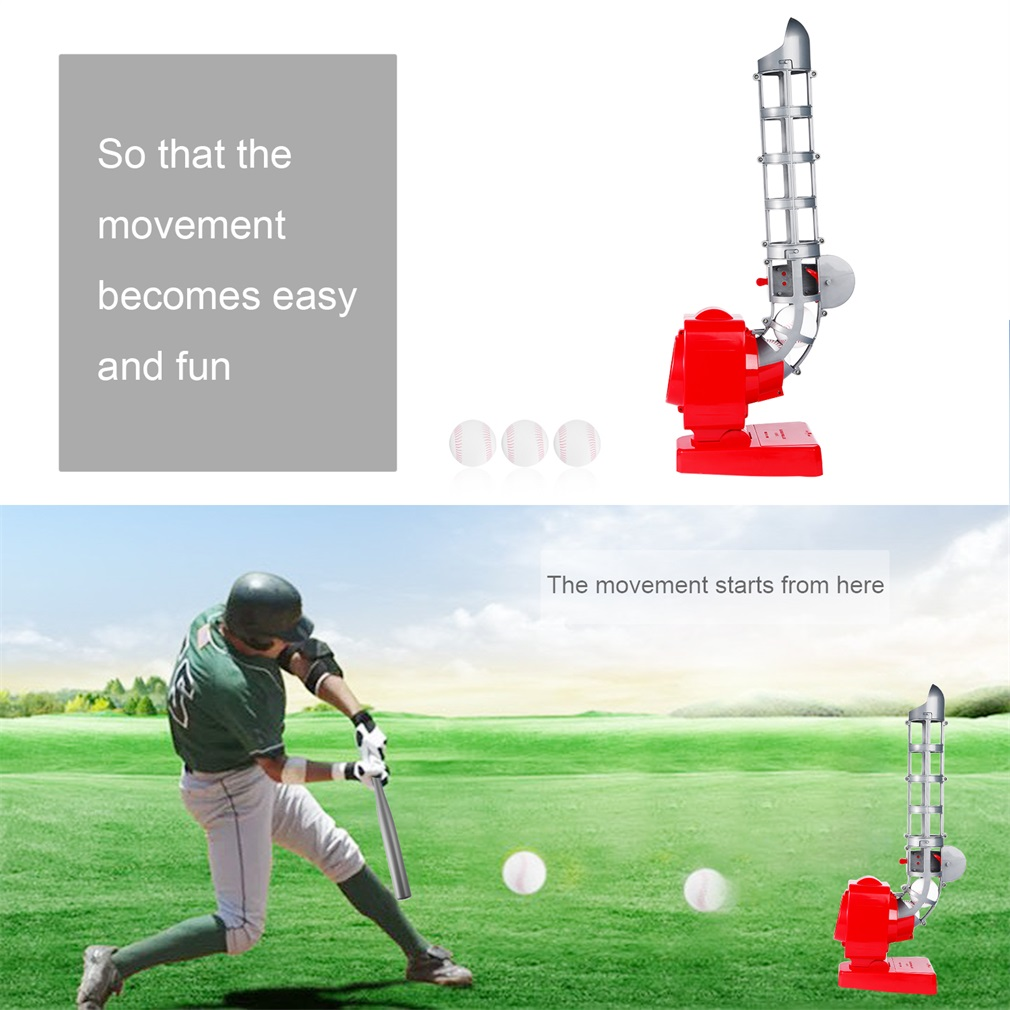 YANGH Baseball Automatic Pitching Machine Launching Serving Machine Battery Version Portable Feet Exercise QCM033-1Red/&Gray