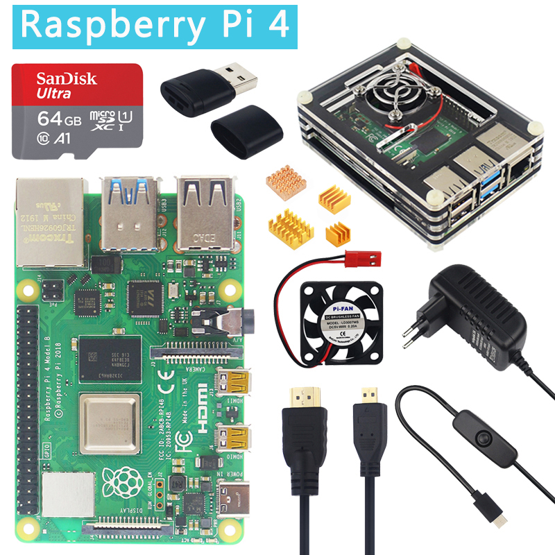 Raspberry Pi 4 Model B 1/2/4GB RAM Option 32GB SD Card| Case |Power Adapter|HDMI Cable For Raspberry Pi 4