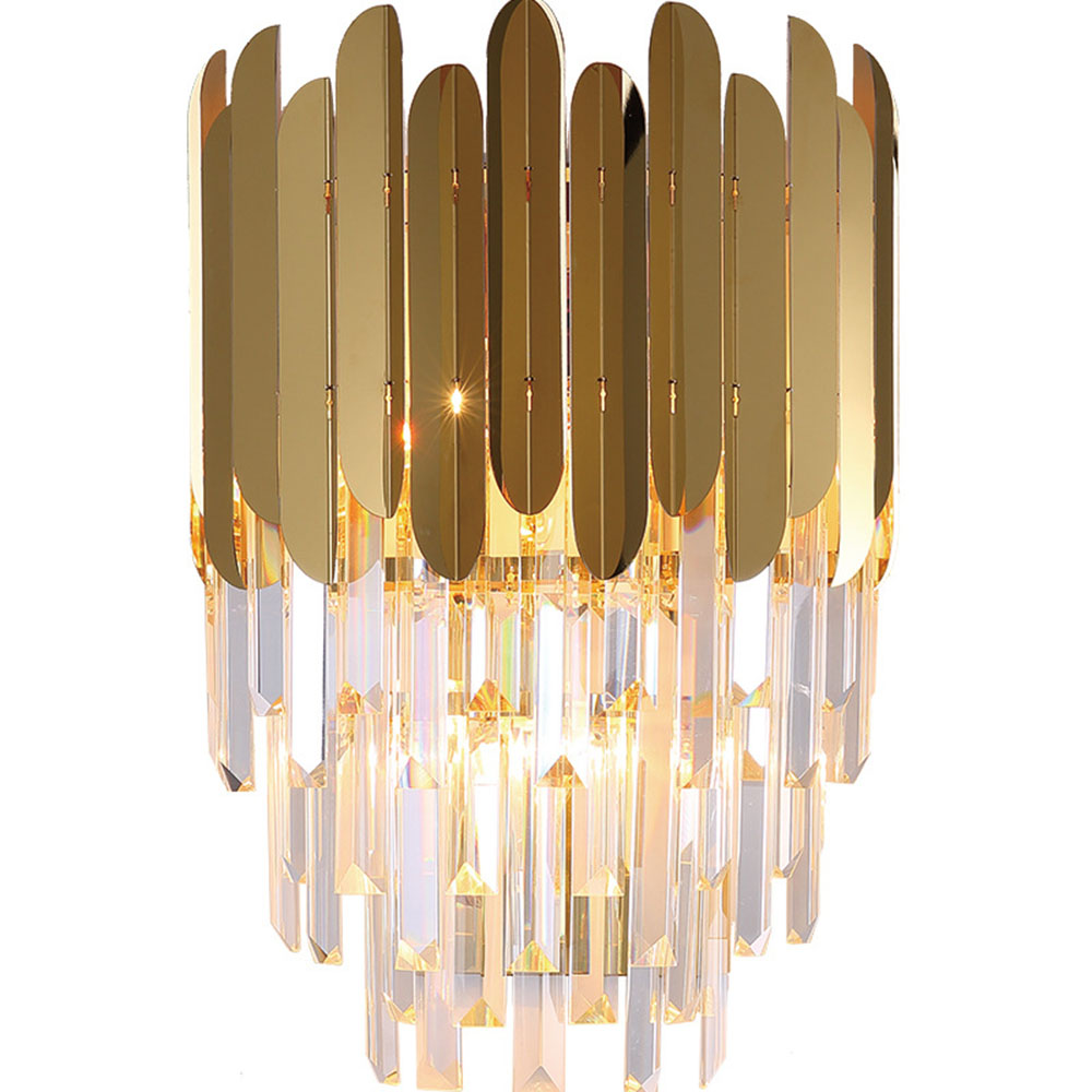 Fss modern gold crystal bedside wall light wall sconce led lamp luxury wall lights fixtures for