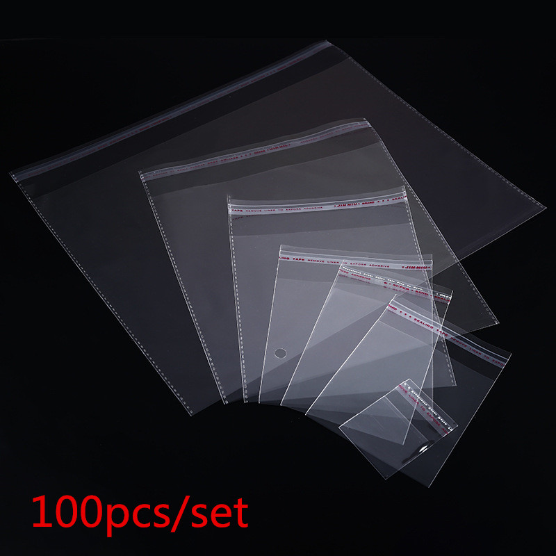 100pcs Multiple Size Clear Self-adhesive Cello Cellophane Bag Self Sealing Small Plastic Bags For Candy Packing Resealable Bag55