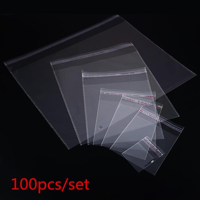 Прозрачные самоклеящиеся целлофановые пакеты разных размеров, 100 шт., самозапечатывающиеся маленькие пластиковые пакеты для конфет, переза...