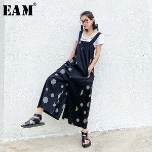 [EAM] High Waist Black Dot Printed Big Size Long Wide Leg Trousers New Loose Fit Pants Women Fashion Spring Summer 2020 1W217