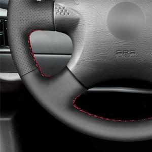 Image 4 - Capa de volante do carro de couro sintético do plutônio preto costurado à mão para nissan almera (n16) x trail (t30) terrano 2 almera tino