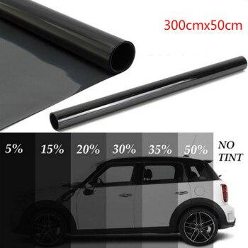 300cm x 50cm negro ventana del coche láminas tinte película de tintado rollo coche Auto Home Window Glass Summer Solar UV Protector película, adhesivo|Ventana lateral|   -