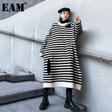 [EAM] Women Big Size Striped Long Knitting Dress New Round Neck Long Sleeve Loose Fit Fashion Tide Autumn Winter 2021 1DB537
