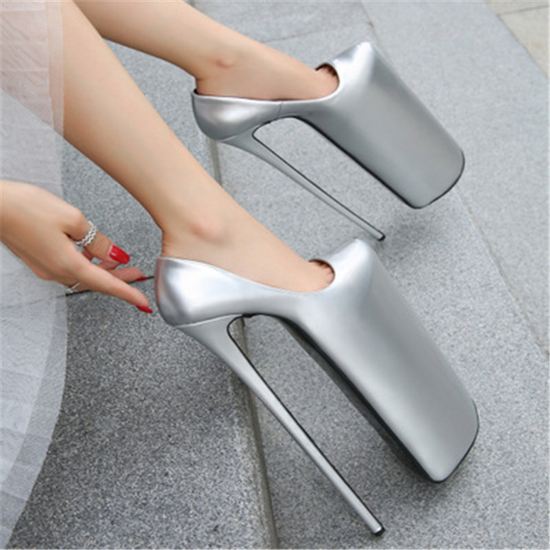 Plus Size 35-44 45 46 Woman Nightclub Catwalk Round Toe <font><b>30cm</b></font> High-<font><b>heeled</b></font> Shoes 21cm Platform Stiletto female Pumps Ladies Shoes image