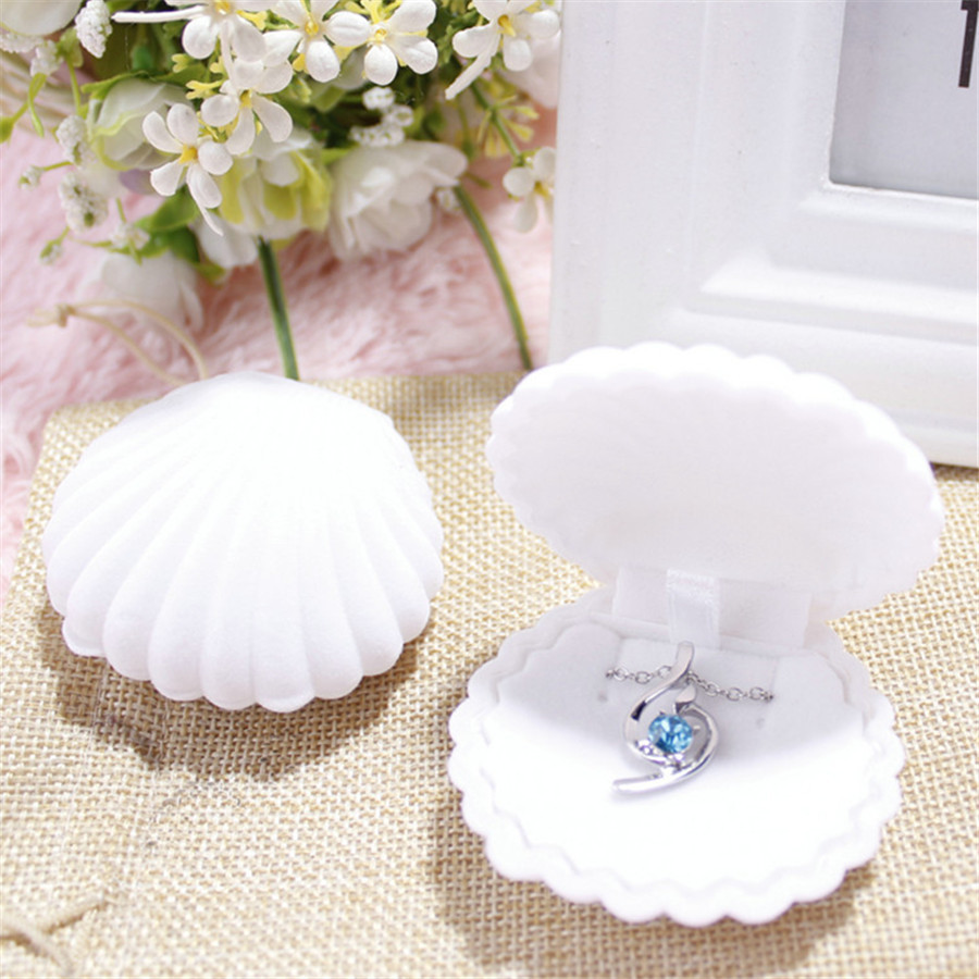 1 Piece Shell Shape Box Lovely Velvet Wedding Engagement Ring Boxes For Earrings Necklace Bracelet Jewelry Display Gift  Holder
