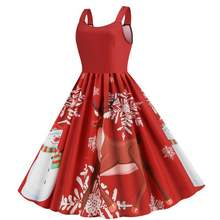 Рождественское платье со снеговиком с принтом лося 2020 Женская