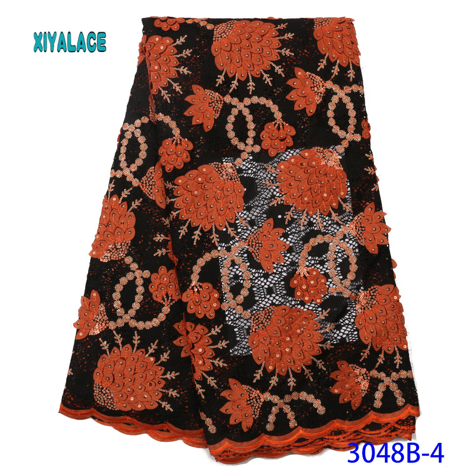 African Lace Fabric Embroidered Nigerian Lace Fabric 2019 High Quality Sequins French Lace Fabric Wedding Party Dress YA3048-4