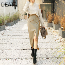 DEAT 2021 New Autumn Fashion PU Leather Skirt Women Pick Hip High Waist Elegant Office Lady Split Mid Slim Fit Cross AP449