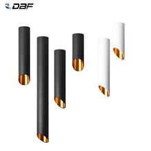 [DBF] שחור/לבן ארוך צינור חוט תליית תקרת COB LED ספוט אור Dimmable 7W 3000K/4000K/6000K צמודי Downlight AC220