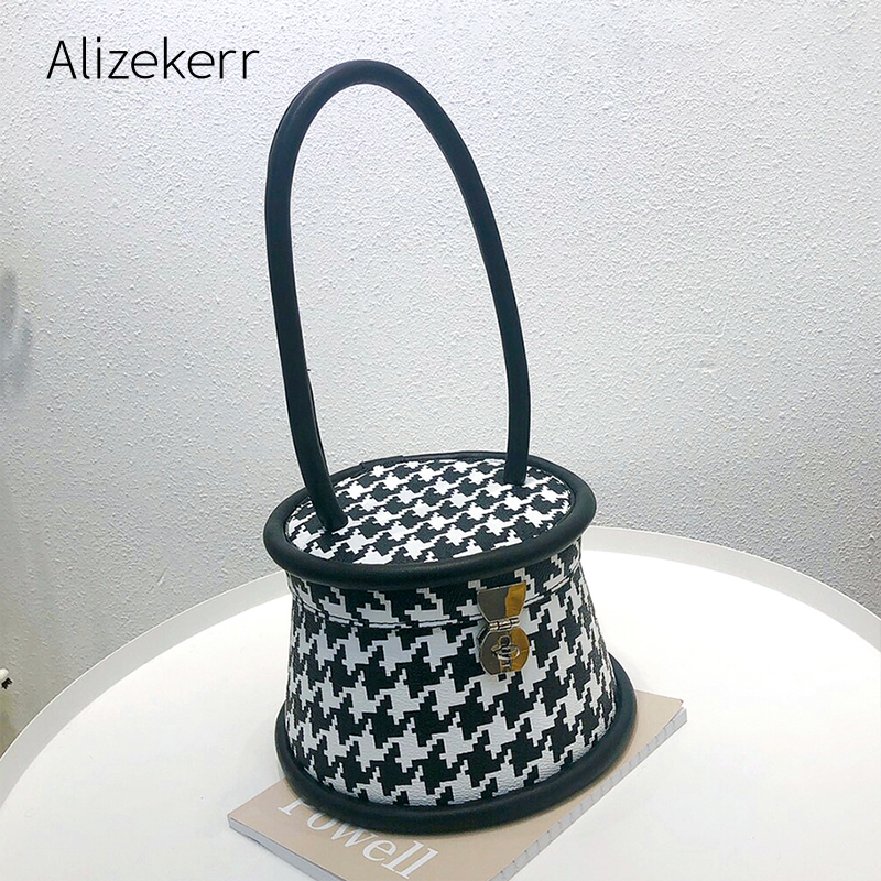 Houndstooth Printed Bucket Handbag Women 2020 New Korean Barrel-Shaped Box Tote Bag Ladies Checked Printing Personality Fashion