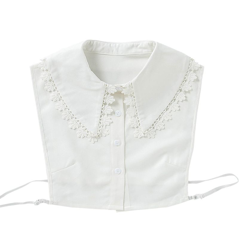 Women Girls Sweet Doll Half Shirt Blouse Embroidery Flower Lace Patchwork Trim Lapel Detachable Pointed False Fake Collar