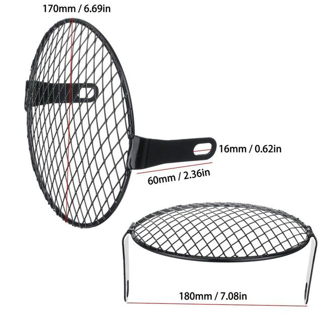 7'' Motorcycle Headlight Metal Mesh Grill Mask Protector Guard Side Mount Cover For Honda 3