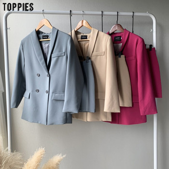 Toppies womens blazer two piece suit set double breasted jacket blazer 2020 autumn ladies formal suit