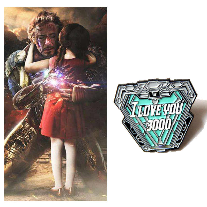 "Avengers Endgame Tony Stark Cosplay Props Badge Legering Broche ""I Love U 3000 Keer"" Accessoires Broches Halloween Fans gift"
