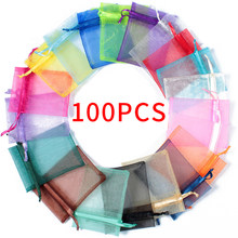 100pcs Drawstring Jewelry Bag Pouch Organza Jewelry Packaging Bags Wedding Party Decoration Drawable Storage Bags Gift Pouches