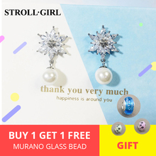 2019 Hot sale jewelry silver 925 Cubic Zircone Sparkle star with dangle Pearl ladies bridal wedding luxury big stud earrings