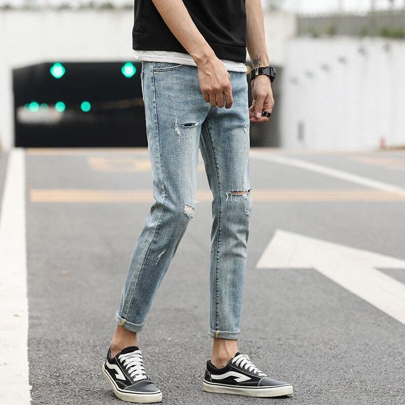 [] Popular Brand Versatile Capri Jeans With Holes Fashion Man Tear Pants Slim Fit Men's Trousers 1 PCs Color 2056