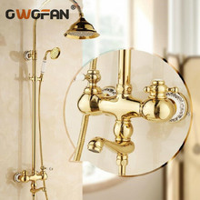 Shower Faucets Gold Bathroom Taps Rainfall 8 inch with Hand Shower Attachment On The Crane Home Decoration Plumbing Mixer HA01 shower faucets bathroom cabin showerhead top spray raining faucet brass shower sets gold home decoration the mixer crane oyd008r