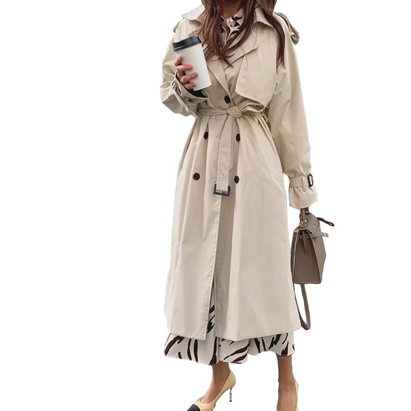 2019 New Autumn Winter Women's Coat Korean Windbreaker Female Plus Size Double Breasted Ladies Long Chic Trench Coats PP288