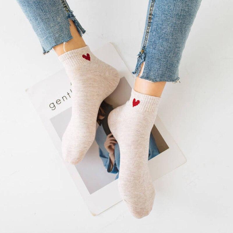 Fashion Casual Boat Sock For Women Man Red Heart Pattern Soft Warm Winter Black Blue White Ankle Socks Cotton Socks Female