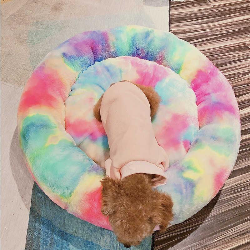 Pet köpek yatağı uzun peluş süper yumuşak Pet yatak köpek kulübesi yuvarlak köpek evi kedi köpek yatağı yatak yastık büyük büyük Mat tezgahı evcil hayvan malzemeleri