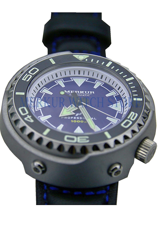 MERKUR 1000M Monoblock Tuna Can Automatic Pro Diver Dive Mens Vinatge Watch