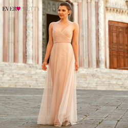 2020 Evening Dresses Ever Pretty EP07369 Long Blush Pink A-line Chiffon Dresses For Wedding With Ruched Bodice Robe