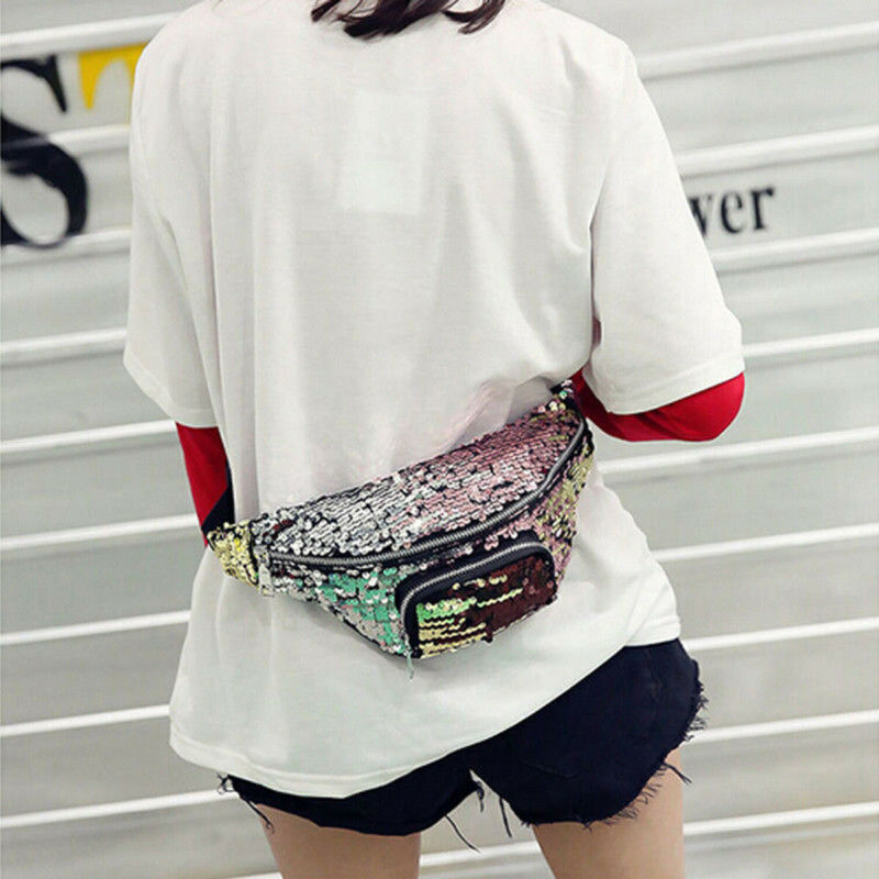 Women Girls Sequins Glitter Waist Bag Fanny Pack Pouch Hip Purse Girlfriend Gift Fashion Cool Coin Crossbody Shouder Waist Pack