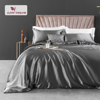 SlowDream 100% Silk Bedding Set Luxury Euro Bedspread Bed Linen Set Double Queen King Adult Gray Duvet Cover Flat/Fitted Sheet