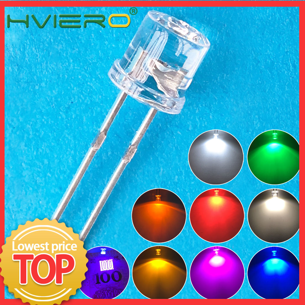 100pcs Min 5mm Flat Top White Red Pink Yellow Blue Wide Angle Light Lamp Diode LED Ultra Bright Bulbs Emitting Diode F5 5mm Lamp