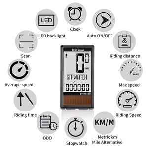 Image 4 - 태양 전지 5 개 언어 무선 자전거 컴퓨터 자동 켜기/끄기 사이클링 속도계 주행 거리계 방수 백라이트 자전거 스톱워치