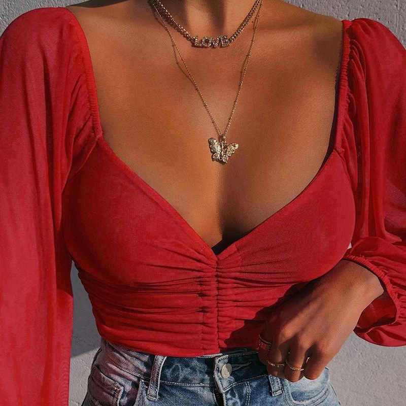 CryptographicสายรัดRuchedเซ็กซี่เสื้อผู้หญิงพัฟแขนปิดไหล่Sheerและเสื้อเสื้อสั้นStreetwear