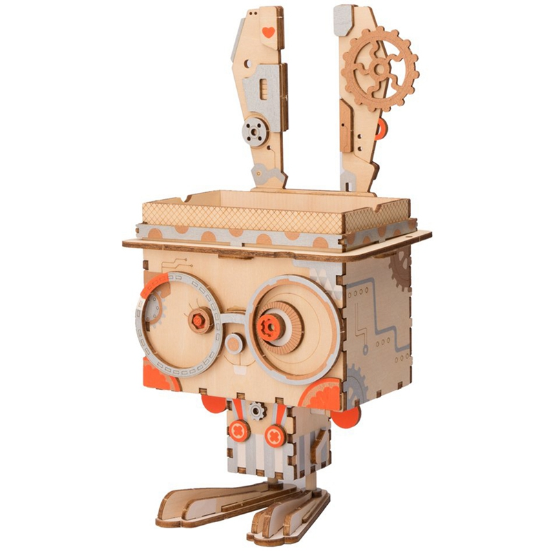 Robotime 3D Wooden Bunny Puzzle Game Creative Flower Pot Storage Box Pen Holder Model Building Kit Children's Toys Adult FT741