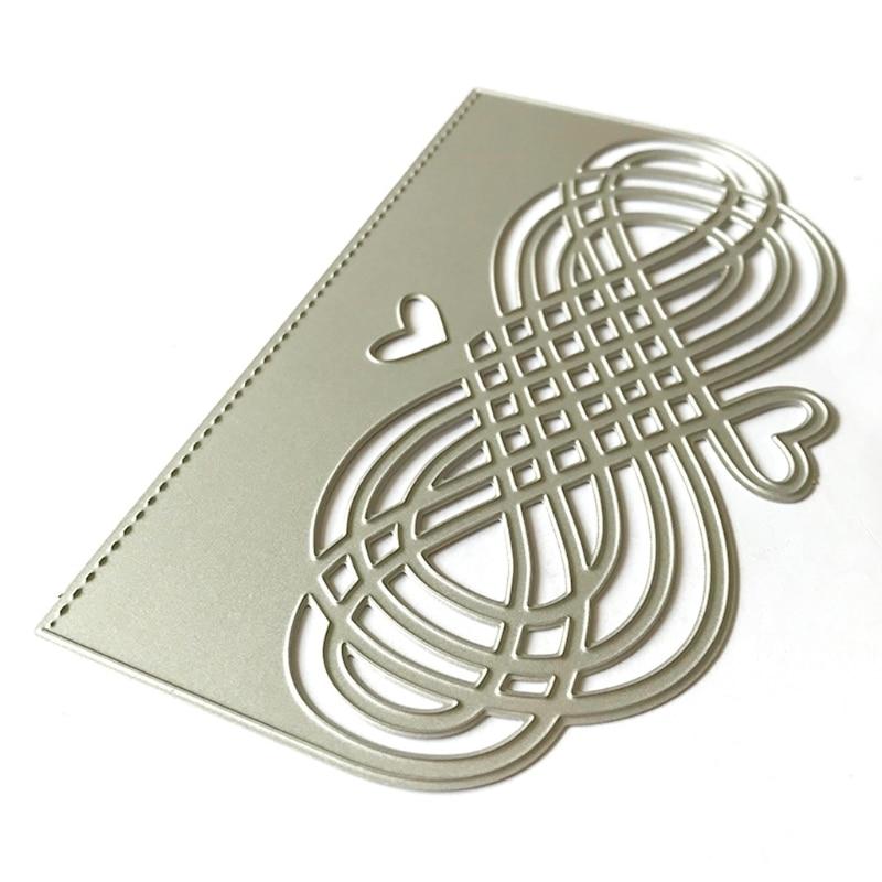 OOTDTY Heart Lattice Metal Cutting Dies Stencil Scrapbooking DIY Album Stamp Paper Card Embossing Decor Craft