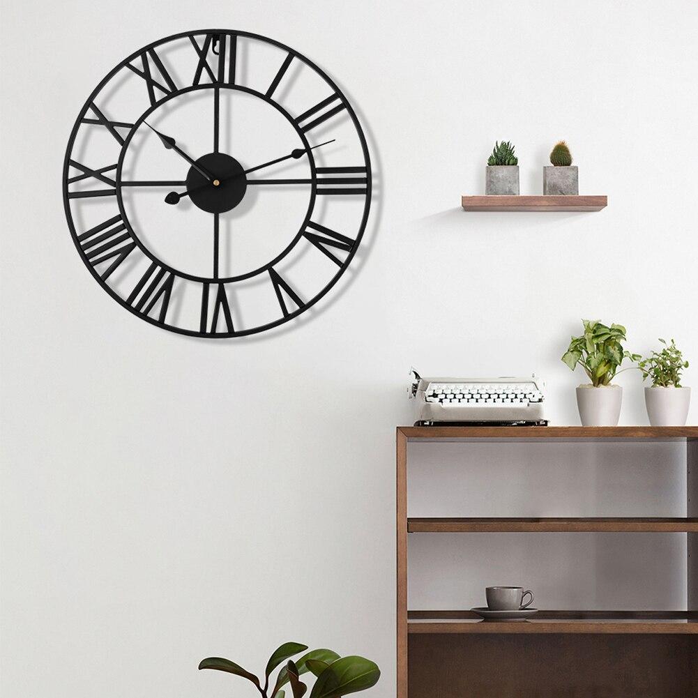 40cm rétro métal chiffre romain horloge murale fer visage noir or grand extérieur horloge de jardin décoration de la maison horloge murale jardin