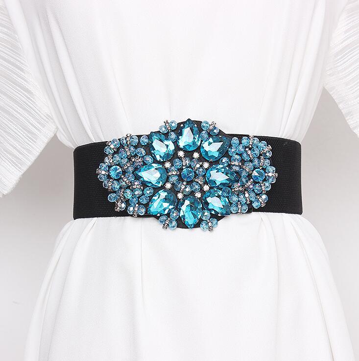Women's Runway Fashion Rhinestone Beaded Elastic Cummerbunds Female Dress Corsets Waistband Belts Decoration Wide Belt R2986