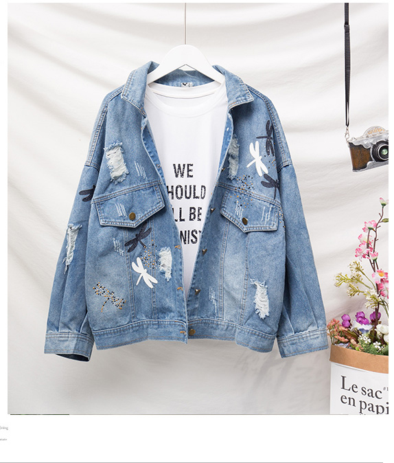 Embroidery Pattern Lapel Loose Denim Jacket 5