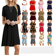 Summer Round Neck Enough Stock Short-sleeved Dress Solid Color Cotton Dresses Casual Elegant Loose Dress 20 Colors