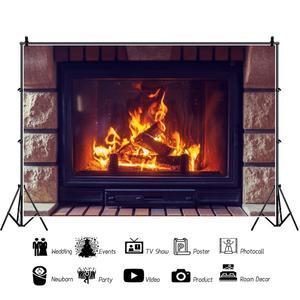 Image 2 - Фон для детской фотосъемки с изображением кирпичной стены камина огня зимы