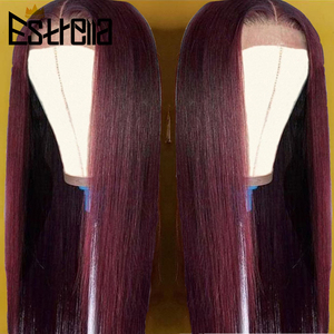 Image 4 - 99J Human Hair Wig Brazilian Straight Body Wave Lace Closure Wigs 4x4 Closure Wig Remy 100% Human Hair Wigs For Women