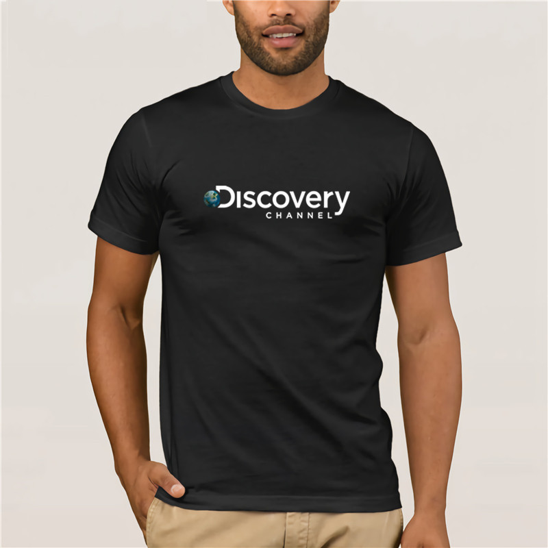 Fashion T-shirt Trendy Cool Top Men's New Discovery Channel Logo Men's Black T-Shirt  Cotton Free Shipping T Shirt