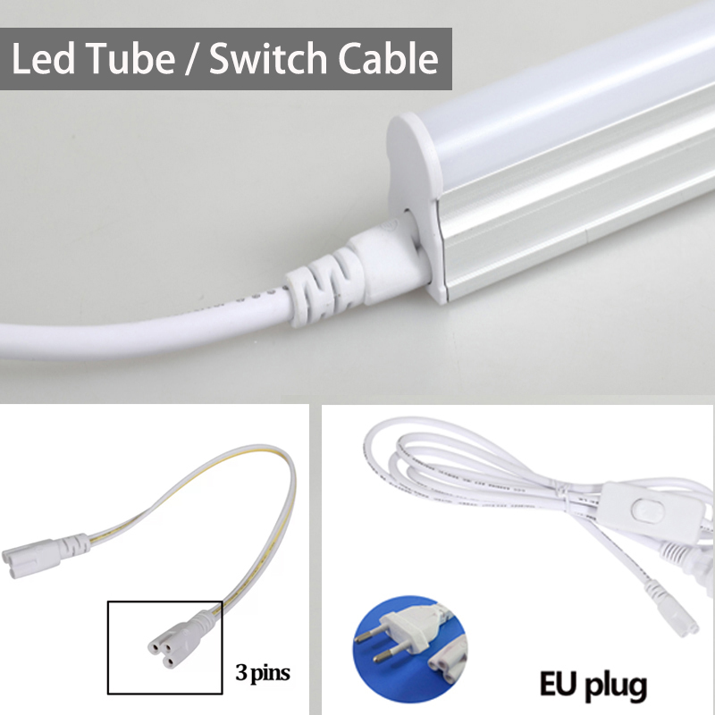 US EU Plug T5 T8 Led Tube Cable 50CM 1.8 M Cable With ON/ OFF Switch Power Cord Extension Cable For LED Tube Light