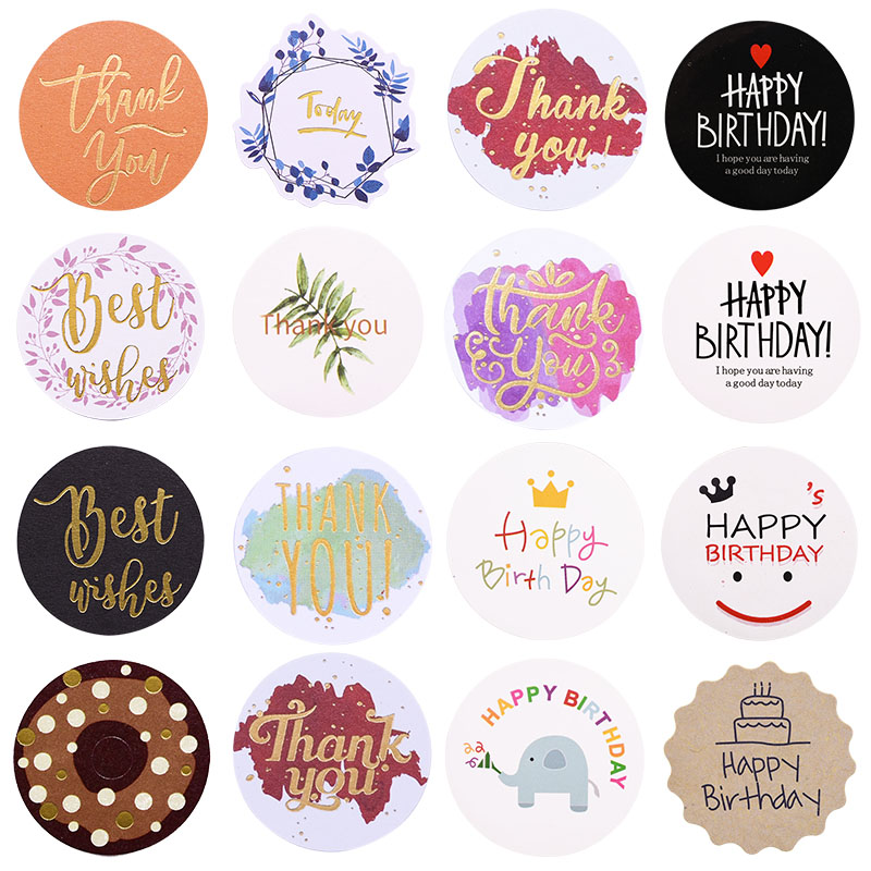 5/10 Sheets Thank You Stickers Happy Birthday Gift Labels Birthday Party Favors Gift Bag Sticker Festival Wedding Favor Supplies