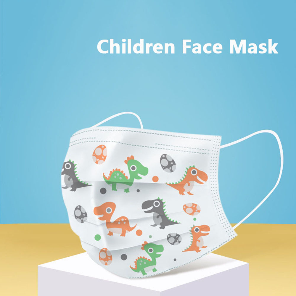 Children Kids Disposable Mouth Face Mask 3 Layers Cartoon Dustproof Non-Woven Fabric Protective Mask Anti-fog PM2.5 4-14Years
