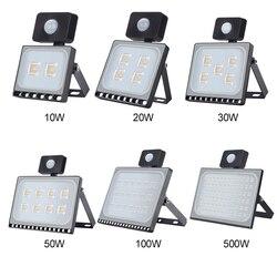 Светодиодный прожектор с пассивным ИК датчиком движения, уличный светодиодный прожектор 10 Вт, 20 Вт, 30 Вт, 50 Вт, 100 Вт, ультратонкий индукционн...